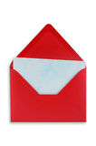 Open red envelope isolated. Open red envelope with a blue sheet of paper inside. Isolated, white background Royalty Free Stock Photo