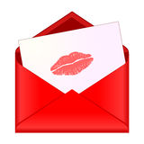Open red envelope with lipstick kiss on letter Stock Image