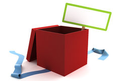 Open red gift box with a blank sign Stock Images