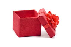 Open red gift box with bow. On white Royalty Free Stock Image