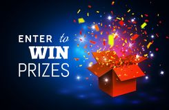 Open Red Gift Box and Confetti on blue background. Enter to Win Prizes. Vector Illustration.  Royalty Free Stock Images