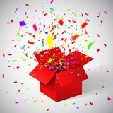 Open Red Gift Box and Confetti. Christmas Background. Vector Illustration.  Royalty Free Stock Photography