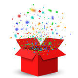 Open Red Gift Box and Confetti. Christmas Background. Vector Illustration Stock Photography
