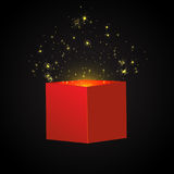 Open Red Gift Box and Confetti. Christmas Background. Vector Illustration. Stock Images