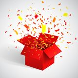 Open Red Gift Box and Confetti. Christmas Background. Vector Illustration.  Stock Photography