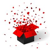Open Red Gift Box and Confetti. Christmas Background. Vector Illustration.  Stock Photos