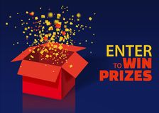 Open Red Gift Box and Confetti With Colorful Particles. Enter to Win Prizes. Lottery Drawing Advertising Banner Template vector illustration