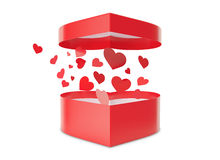Open red gift box with flow hearts. Royalty Free Stock Photos