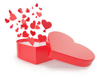 Open red gift box with flow hearts. Stock Photos