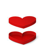 Open Red Gift Box in Heart Shaped  for Valentines Day Stock Photo