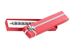 Open red gift box with a necklace Royalty Free Stock Image