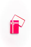 Open red gift box with ribbon bow  Stock Photo