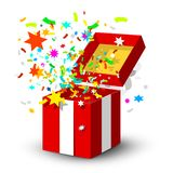 Open Red Gift Box with Surprise Confetti. Isolated on White Background vector illustration
