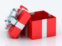 Open red gift boxes with white  ribbon. Open red gift boxes with white ribbon on a white background Royalty Free Stock Image