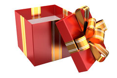 Open red gift with golden ribbons Royalty Free Stock Image