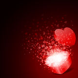 Open red gift present as heart with fly hearts Stock Photography