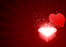 Open Red Gift Present As Heart With Fly Hearts Royalty Free Stock Image