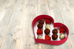 Open red heart shaped candy box Royalty Free Stock Photo