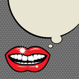 Open red lips with teeth Royalty Free Stock Images