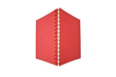 Open red notebook. Red spiral notebook isolated on white Stock Photo