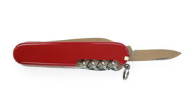 Open red penknife. Open red pocket knife isolated over white Royalty Free Stock Photos