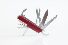 Open Red Pocket Utility Knife Stock Photo