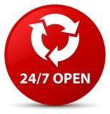 24/7 open red round button. 24/7 open isolated on red round button abstract illustration Royalty Free Stock Photos