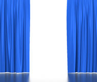 Open red silk curtains for theater and cinema with Royalty Free Stock Images