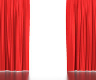 Open red silk curtains for theater and cinema with Stock Photos