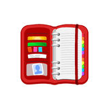 Open red spiral diary, notebook or personal organizer. Stock Photos