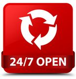 24/7 open red square button red ribbon in middle. 24/7 open isolated on red square button with red ribbon in middle abstract illustration Royalty Free Stock Photos