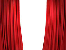 Open red stage curtains Royalty Free Stock Photo