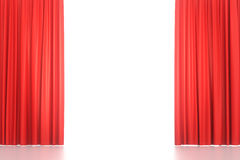 Open red stage curtains. Open red velvet stage curtains on white background. 3D illustration stock photos