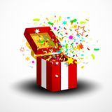 Open Red Surprise Gift Box with Confetti and Party Paper Decoration. Isolated on White Background stock illustration