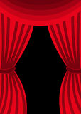 Open red swagged curtains Stock Photo