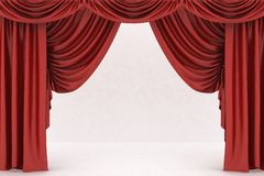 Open red theater curtain Stock Images