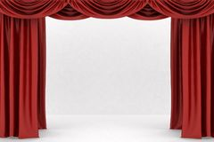 Open red theater curtain Stock Image