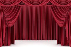 Open red theater curtain Stock Photos