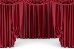 Open red theater curtain Royalty Free Stock Photo