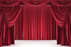Open red theater curtain Royalty Free Stock Image