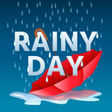 Open red umbrella in puddles and text rainy day with rain drops. Vector illustration Royalty Free Stock Photography