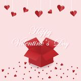 Valentine 16. Open the red Valentine`s Day gift box with hearts sprinkled on a pink background. With hearts hanging on top Can be used as a Valentine`s Day stock illustration