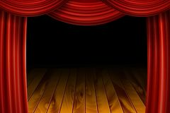 Open Red Velvet Movie Curtains with Black Screen. With a wooden stage. Vector illustration Royalty Free Stock Photo