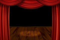 Open Red Velvet Movie Curtains with Black Screen. With a wooden stage. Vector illustration Royalty Free Stock Photography
