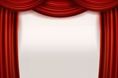 Open Red Velvet Movie Curtains with White Screen. Vector illustration Stock Photography