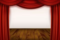 Open Red Velvet Movie Curtains with White Screen. With a wooden stage. Vector illustration Stock Photography
