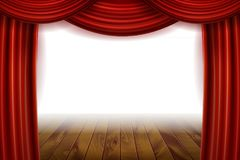 Open Red Velvet Movie Curtains with White Screen. With a wooden stage. Vector illustration Royalty Free Stock Images