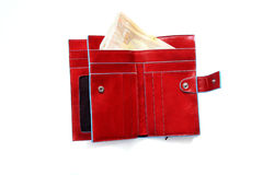 Open red wallet with euro notes. Picture of a red wallet with blue edges, isolated on white, with 50 euros notes Stock Photo