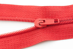 Open red zipper Royalty Free Stock Photo