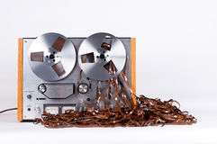 Open Reel Tape Deck Recorder Player with Messy Entangled Tape Royalty Free Stock Image